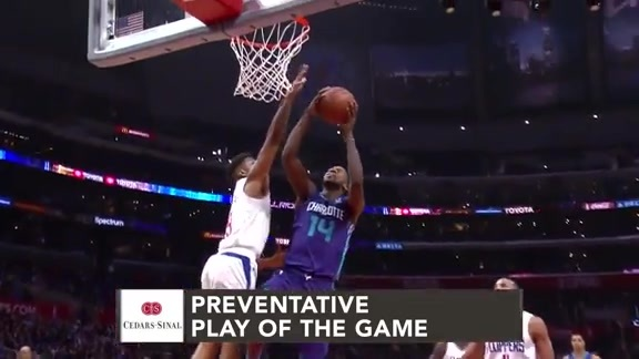 Cedars-Sinai Preventative Play of the Game | Clippers vs. Hornets (1.8.19)