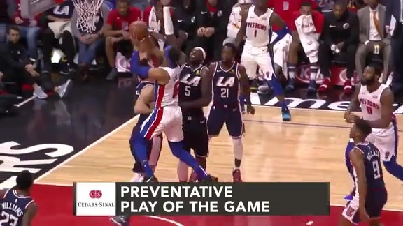 Cedars-Sinai Preventative Play of the Game | Clippers vs. Pistons (1.12.19)