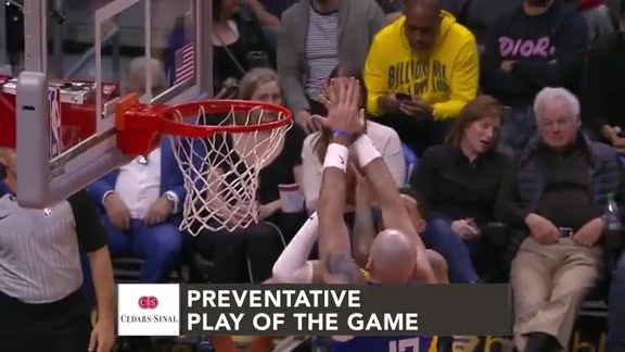 Cedars-Sinai Preventative Play of the Game | Clippers vs. Lakers (1.31.19)