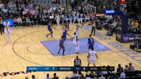 Mike Conley drives through traffic on his way to the bucket