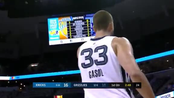 Gasol turns the feed from Mack into a reverse layup