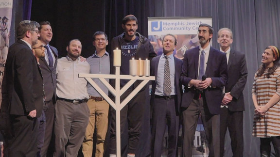 Omri Casspi visits the Memphis Jewish Community Center for Hanukkah Candlelighting & Conversation
