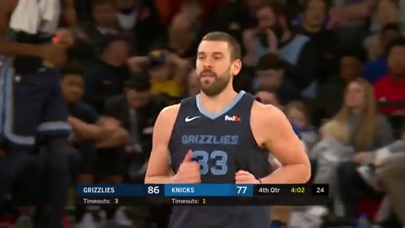 Gasol finishes step-back with a swish
