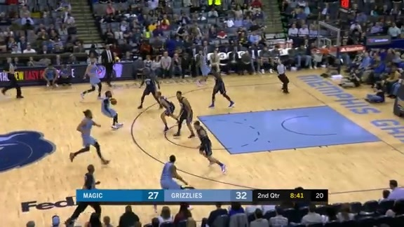 Mike Conley squeezes through the lane