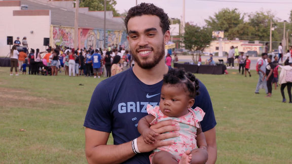 Tyus Jones & Meghan Triplett attend Lester Community Center Block Party Recap