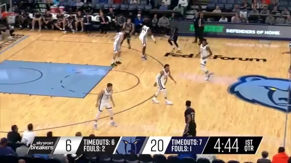 Memphis Grizzlies with a 10-0 run vs. New Zealand Breakers