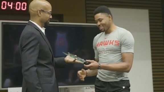 Kent Bazemore Receives Jason Collier Memorial Trophy