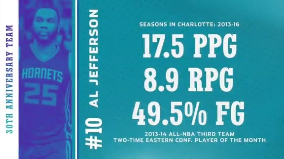 No. 10 Al Jefferson - Hornets 30th Anniversary Team