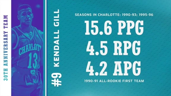 No. 9 Kendall Gill - Hornets 30th Anniversary Team