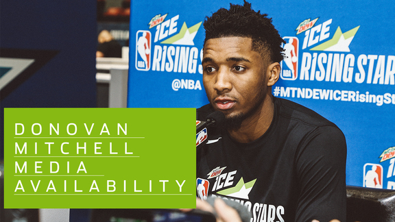 Donovan Mitchell speaks to the media ahead of the Rising Stars Challenge
