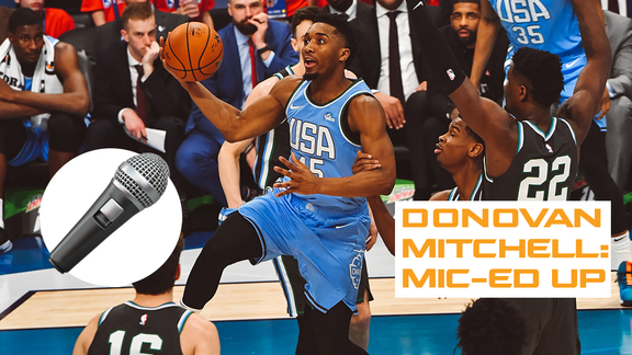 Donovan Mitchell mic-ed up during the Rising Stars Challenge