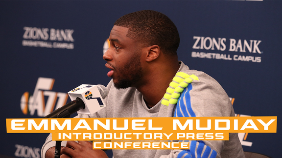 Emmanuel Mudiay speaks to local media during his introductory press conference