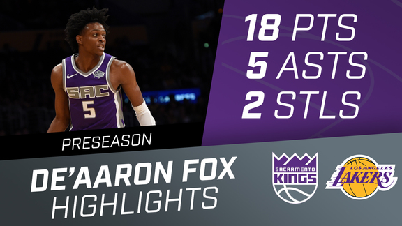 De'Aaron Fox (18 pts, 5 ast) vs Lakers Preseason 10.4.18