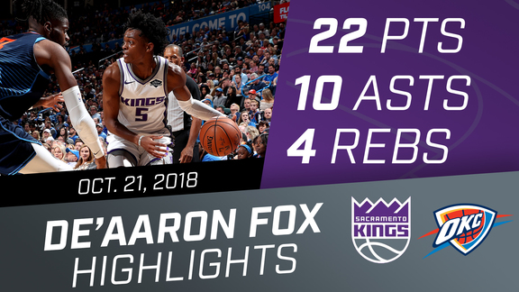 De'Aaron Fox (22 points & 10 assists) vs OKC 10.21.18
