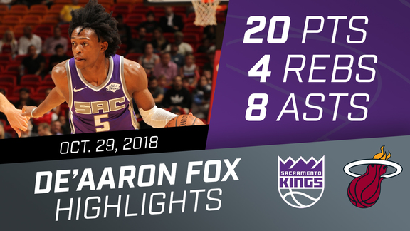 De'Aaron Fox (20 pts, 4 rebs, 8 asts) vs Heat 10.29.18