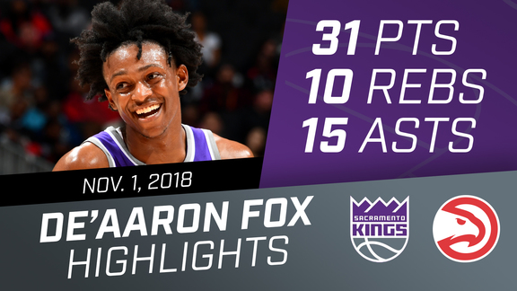 De'Aaron Fox Triple Double (31 pts, 10 rebs, 15 asts) vs Heat 11.1.18
