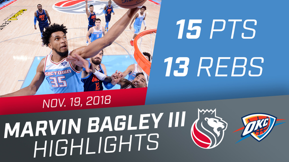 Marvin Bagley III (15 pts, 13 rbs) vs Thunder 11.19.18