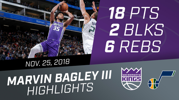 Marvin Bagley III (18 pts, 6 rebs, 2 blks) vs Jazz 11.25.18