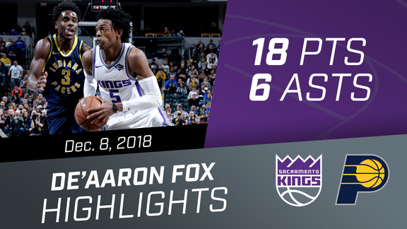 De'Aaron Fox (18 pts, 6 asts, 1 reb) vs Pacers 12.8.18