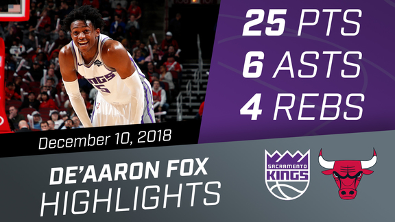 De'Aaron Fox (25 pts, 6 asts, 4 rebs) vs Bulls 12.10.18