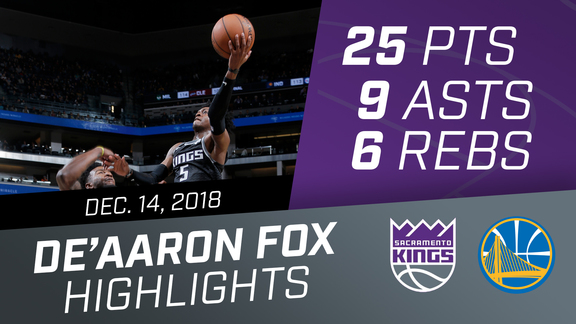 De'Aaron Fox (25 pts, 9 asts, & 6 rebs) vs Warriors 12.14.18