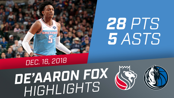 De'Aaron Fox (28 pts, 5 asts, & 3 rebs) vs Mavericks 12.16.18