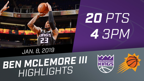 Ben McLemore (20 PTS & 4 threes) vs Suns 1.8.19