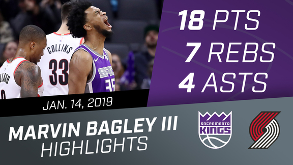 Marvin Bagley III (13 pts & 11 rebs) vs Trail Blazers 1.14.19