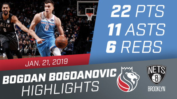 Bogdan Bogdanovic (22 pts, 11 asts, 6 rebs) Highlights vs Nets 1.21.19