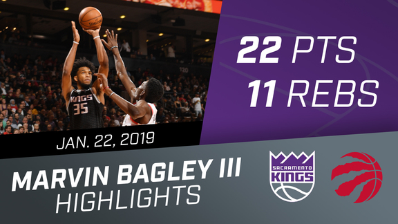 Marvin Bagley III (22 pts & 11 rebs) vs Raptors 1.22.19