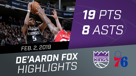 De'Aaron Fox (19 pts, 8 asts) vs 76ers 2.2.19