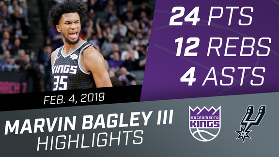 Marvin Bagley III (24 pts, 12 rebs, 4 asts) vs Spurs 2.4.19