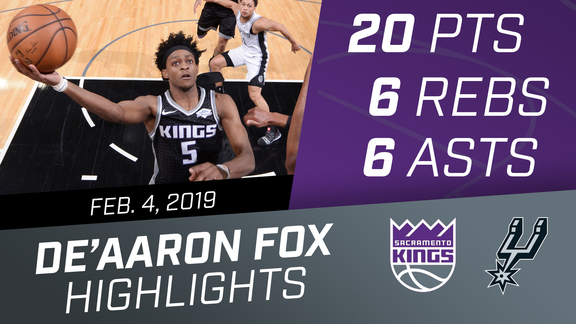 De'Aaron Fox (20 pts, 6 asts, 6 rebs) vs Spurs 2.4.19