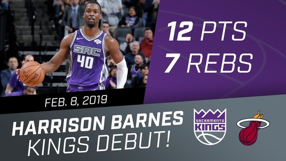 Harrison Barnes Kings Debut vs Miami Heat 2.8.19