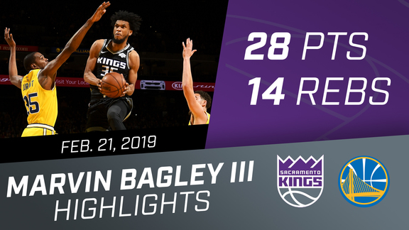 Marvin Bagley III (28 pts & 14 rebs) vs Warriors 2.21.19