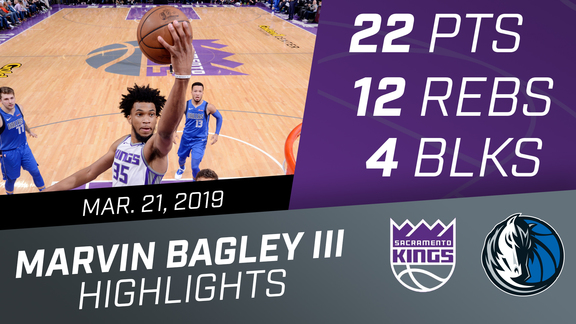 Marvin Bagley III (22 pts, 12 rebs, 4 blks) vs Mavericks 3.21.19