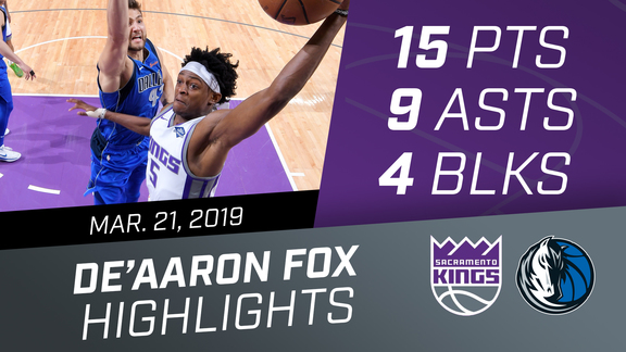 De'Aaron Fox (15 pts, 9 asts, 4 blks) vs Mavericks 3.21.19
