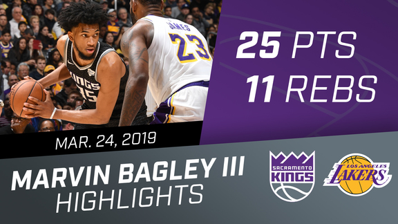 Marvin Bagley III (25 pts & 11 rebs) vs Lakers 3.24.19