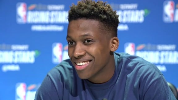 Knicks' Frank Ntilikina on the mic at NBA All-Star Weekend