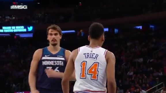 Knicks Highlights: Trier muscles for the and-one