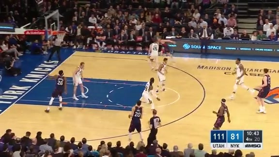 Knicks Highlights: Ellenson gets the score and the foul