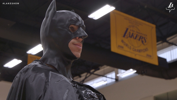 Lonzo Dresses as Batman to Trick or Treat With Kids