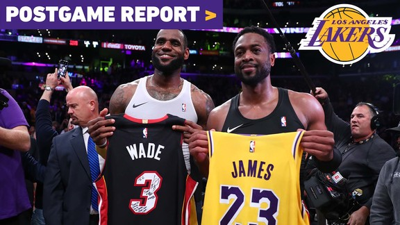 Postgame Report: Lakers Outlast Heat In LeBron's Final Matchup With Dwyane Wade