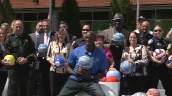 Magic Deliver Basketballs to Law Enforcement for Youth as Part of GROW Summer Ball Drive