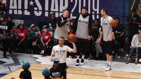 Nikola Jokić Practices for the 2019 All-Star Game