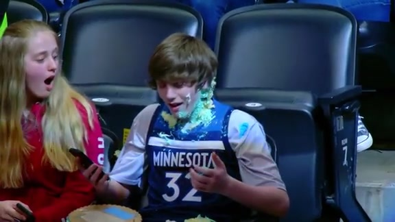 Rocky Throws Cake at Timberwolves Fans