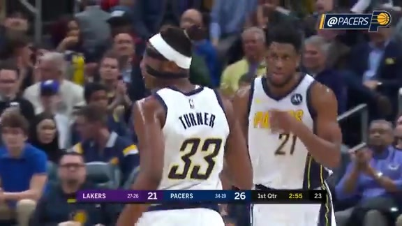 Turner Has Big Night as Pacers Roll Lakers