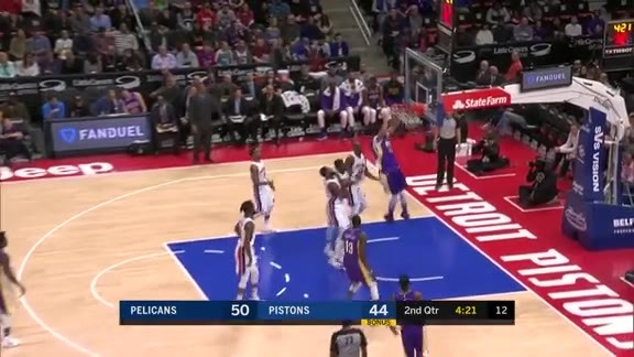 Davis with the spin and dunk