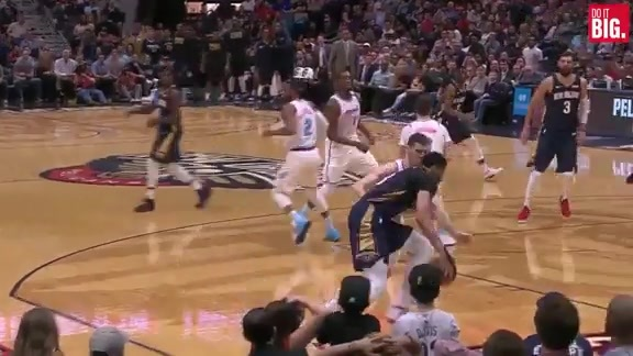 AD gets his own rebound and scores