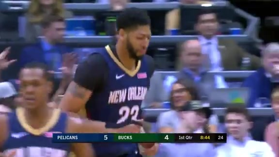 Anthony Davis Runs the Floor for the Oop